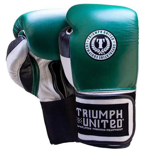 TU Death Adder Sparring Gloves - Velcro - Green/White/Black - Triumph United