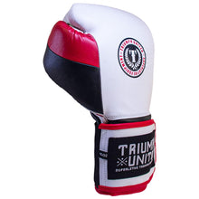 Load image into Gallery viewer, TU Death Adder Sparring Gloves - Velcro - White/Red/Black - Triumph United