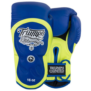 "Tiger 1 Series ""White Walkers"" Pro Muay Thai Gloves Blue/Yellow - Triumph United"