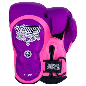 "Tiger 1 Series ""Willy Wonker"" Pro Muay Thai Gloves Purple/Pink - Triumph United"