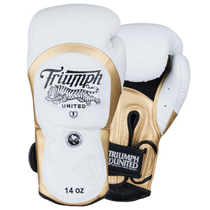 "Tiger 1 Series ""Dreamkiller"" Pro Muay Thai Gloves White/Gold - Triumph United"