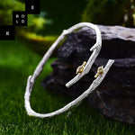 925 Sterling Silver Original Handmade Bird on Branch Bangle for Women-BOLD InStyle