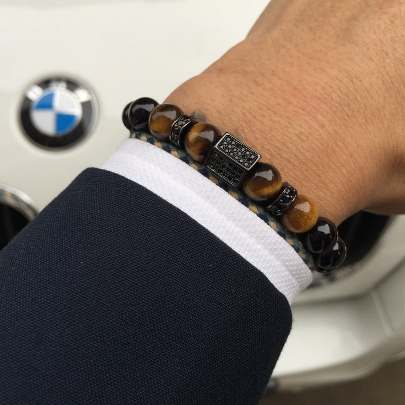 Hexagon Natural Black Agate Bracelet-BOLD InStyle