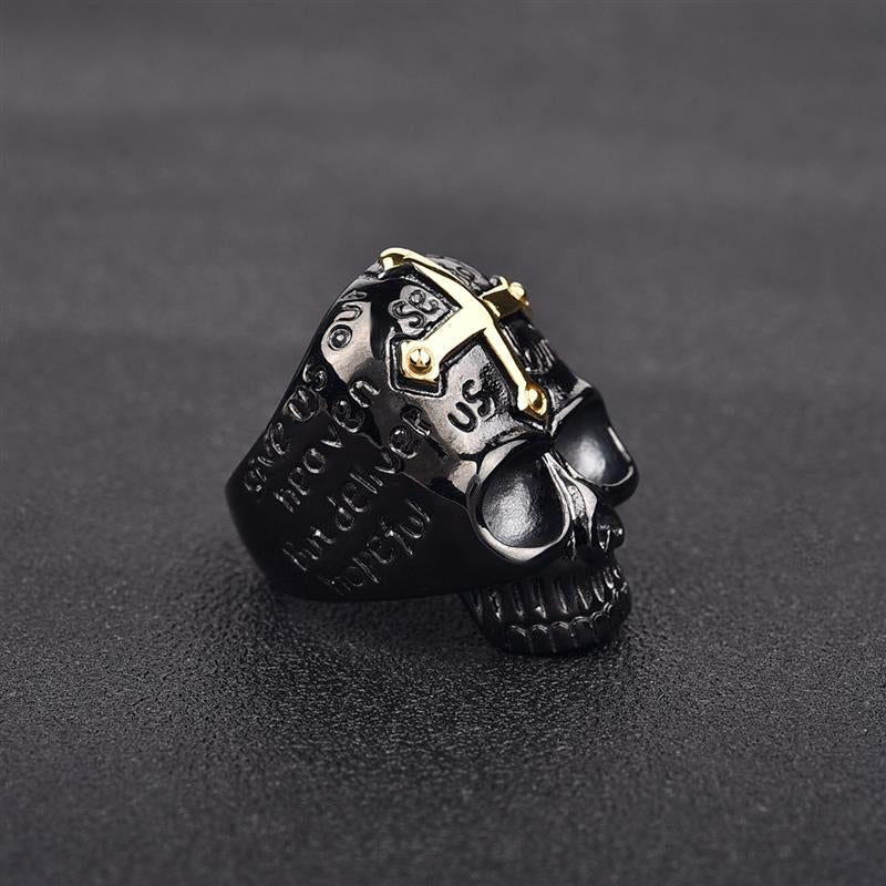 Jiayiqi Gothic Black Skull Ring Hip-hop Punk Gold Cross Stainless Steel Rings for Men Male Jewelry Vintage Party Gifts-BOLD InStyle