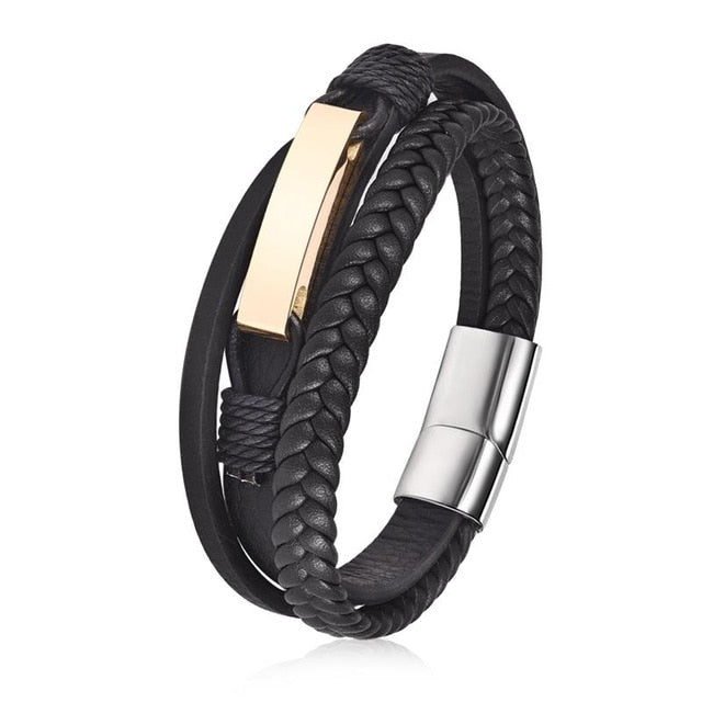 Vintage Genuine Leather & Stainless Steel Bracelet-BOLD InStyle
