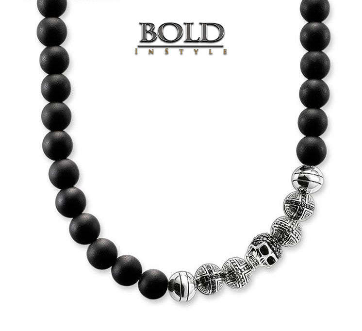 Silver Skull & Black Obsidian Beads Necklace-BOLD InStyle