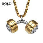 Barbell Dumbbell Stainless Steel Necklace-BOLD InStyle