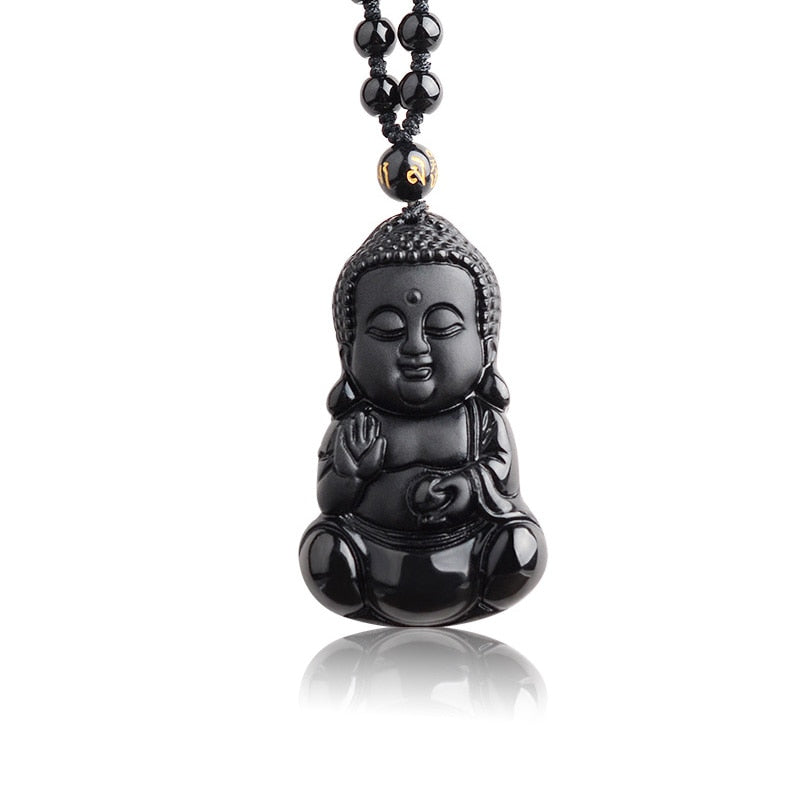 Natural Black Obsidian Carved Baby Buddha Pendant With Amulet Lucky Beads Chain-BOLD InStyle