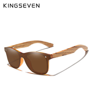 KINGSEVEN Polarized Square Wooden Frame Sunglasses-BOLD InStyle
