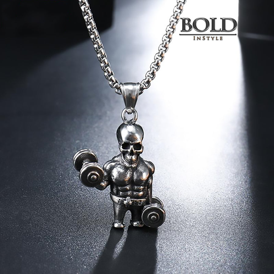 Forever Lifting Muscle Skull Pendant Necklace-BOLD InStyle