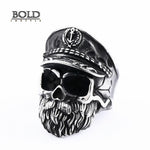 Navy Captain Gothic Skull Ring-BOLD InStyle