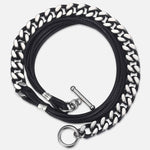 Leather & Stainless Steel Link Chain Bracelet-BOLD InStyle