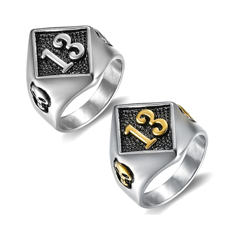 Lucky Number 13 Biker Stainless Steel Ring-BOLD InStyle