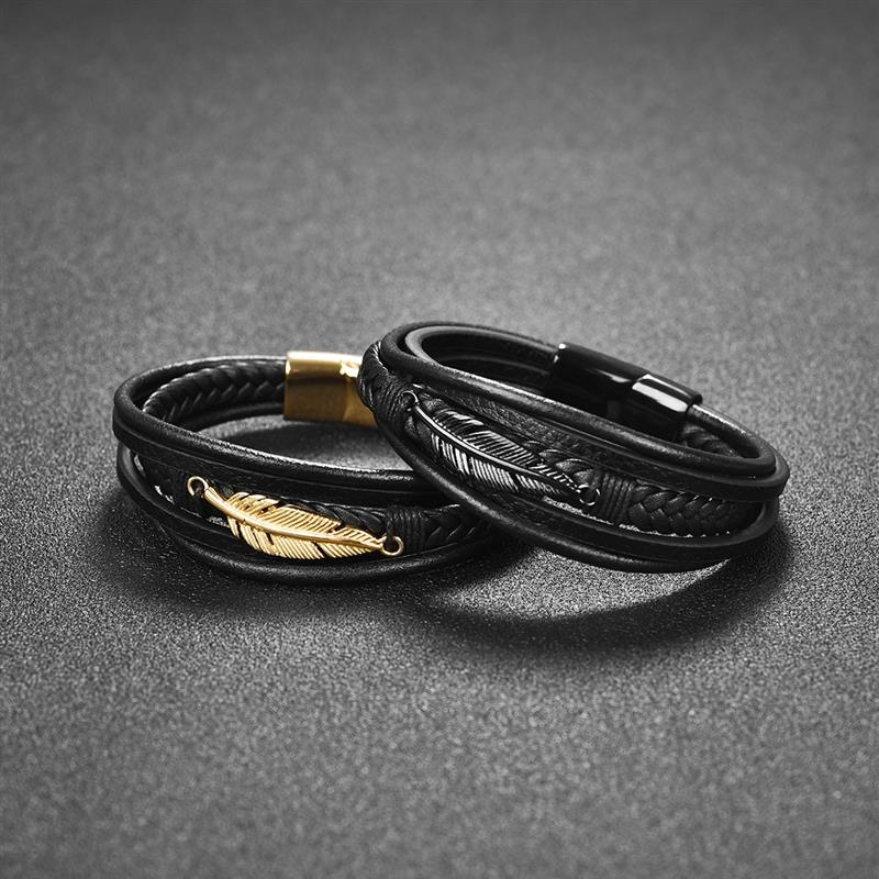 Multi-Layer Genuine Leather Feather Bracelet For Men-BOLD InStyle