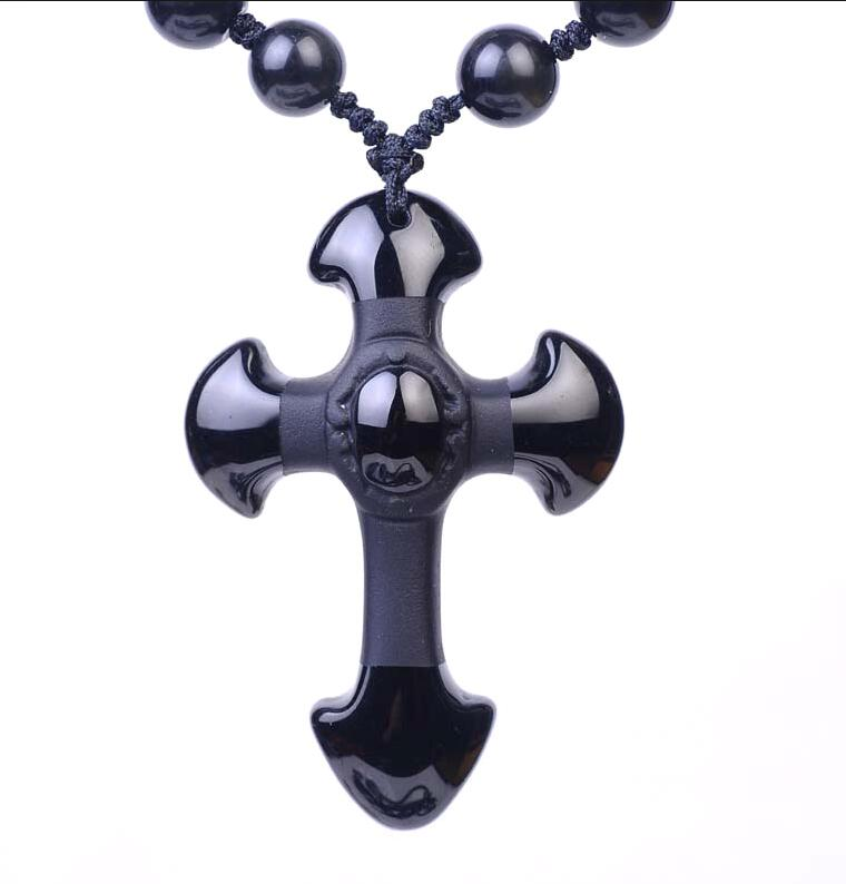 Natural Black Obsidian Carved Cross beads necklace-BOLD InStyle