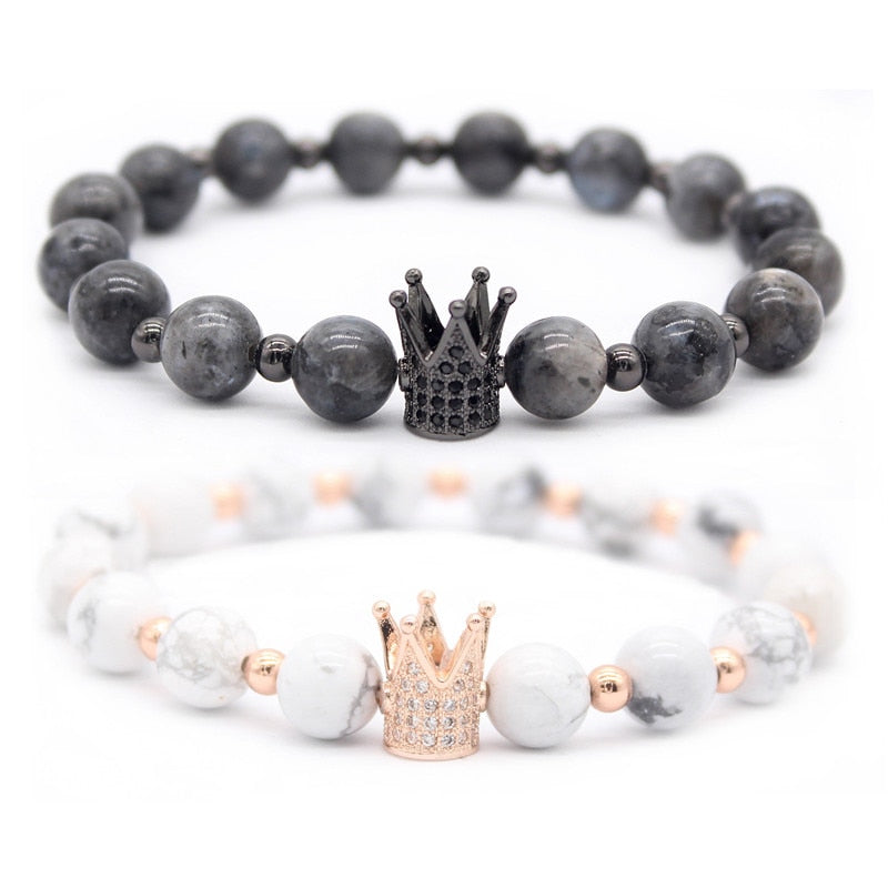 His And Her's Couples Crown Marble Bracelets-BOLD InStyle