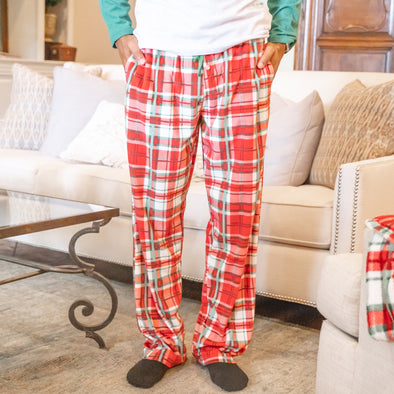 Mens Fleece Plaid Sleep Pant
