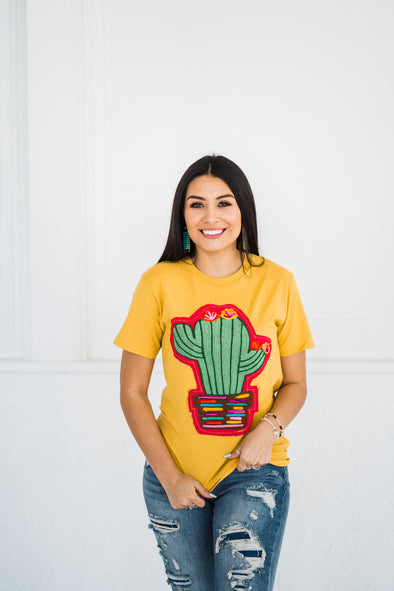 Pretty Little Cactus T-shirt in Mustard