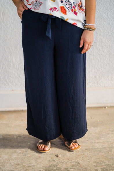 Navy Wide Leg Pants