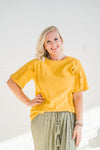 Mustard Ruffle Detail Top
