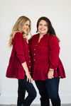 Burgundy Hello Fall Top-Plus