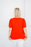 Vibrant Red Scalloped Top