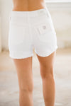 White Fray Hem Shorts