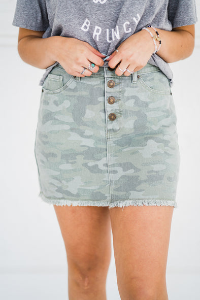 Windsor Button Fly Camo Skirt