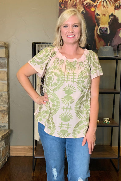 Ivy Jane Olive Embroidered Top