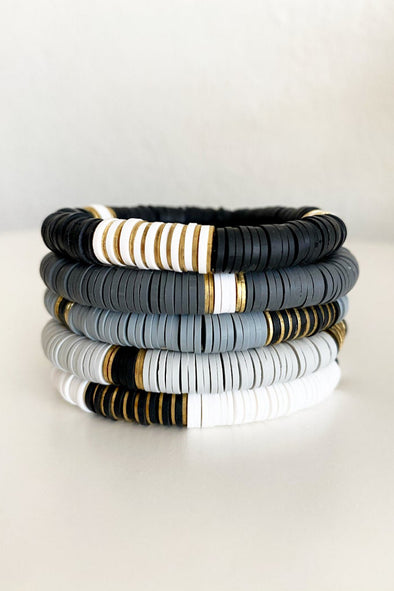 Black, Gray & White Stack Heishi Bracelets