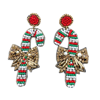 Candy Cane Beaded Earrings