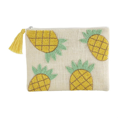 Pineapple Beaded Jute Clutch