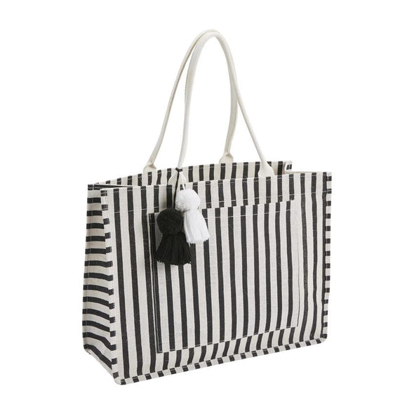 Black and White Stripe Jute Tote