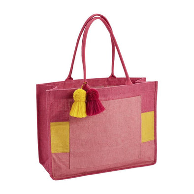 Pink Color Block Jute Tote