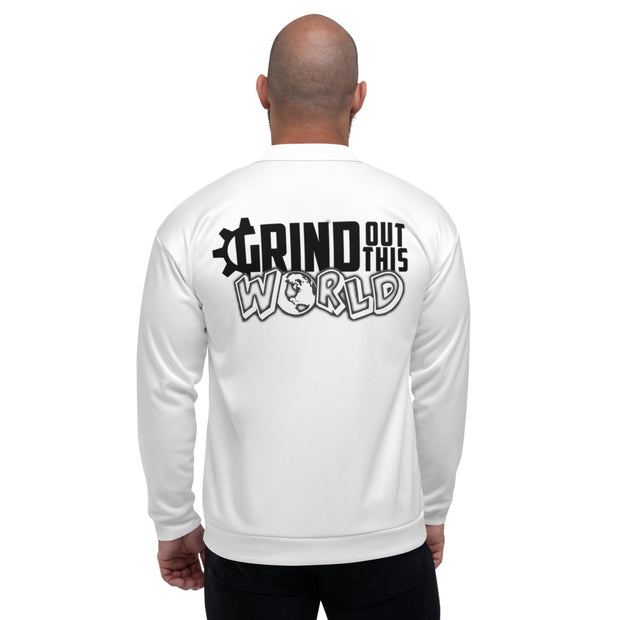 "The ""G"" in Grind White Unisex Bomber Jacket"