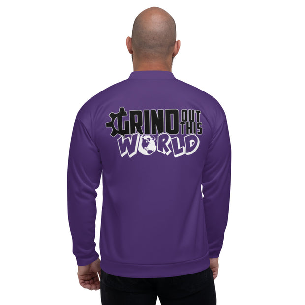 "The ""G"" in Grind Purple Unisex Bomber Jacket"