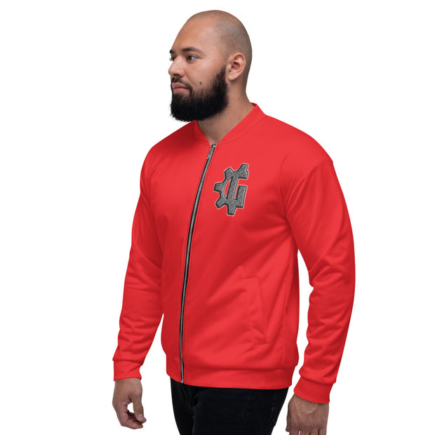 "The ""G"" in Grind Red Unisex Bomber Jacket"