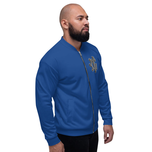 "The ""G"" in Grind Blue Unisex Bomber Jacket"