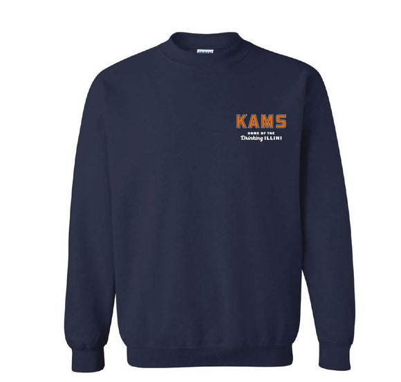 KAMS Embroidered Logo Crewneck Sweatshirt (Navy)