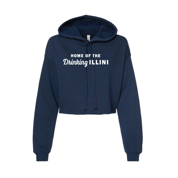 Bella Cropped Navy Ladies Hoodie