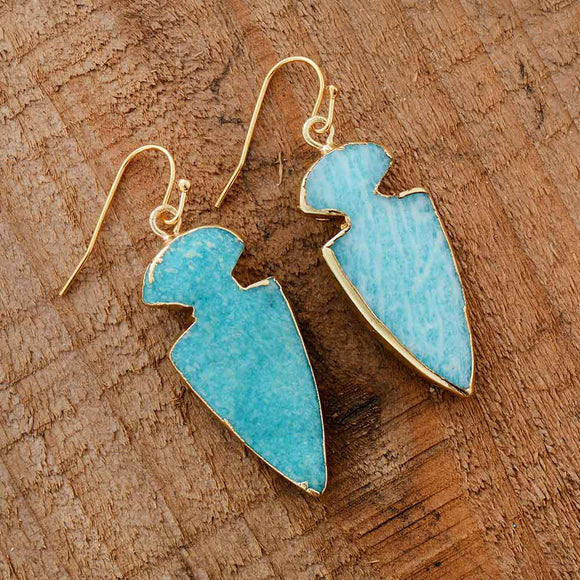 Natural Amazonite Stone Arrowhead Earrings