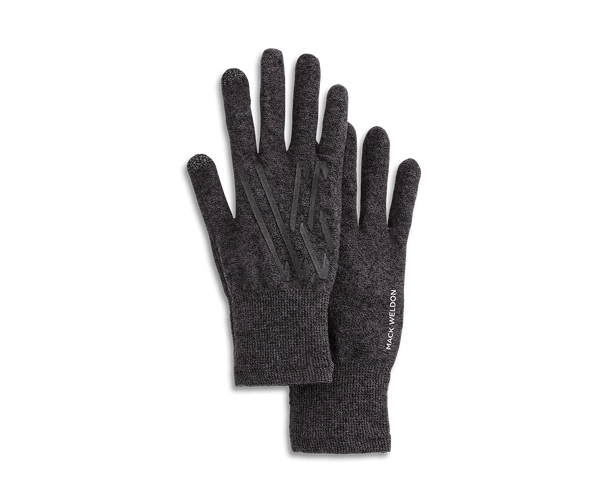 Charcoal Heather | pair of swipe gloves from above showing Mack Weldon logo pattern