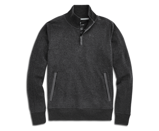Charcoal Heather | Front view of Ace Half-Zip pullover in Charcoal Heather