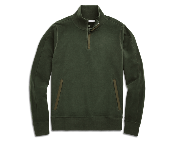 Duffle Bag Green | Front view of Ace Half-Zip pullover in Duffle Bag Green