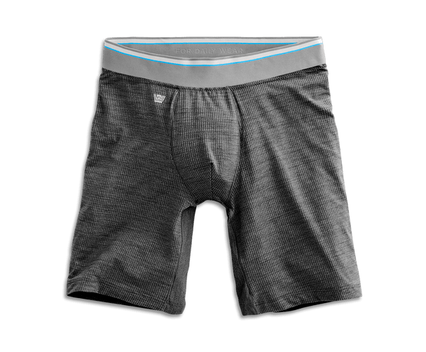"Charcoal Heather | Front view of Airknitx 8"" Boxer Brief in Charcoal Heather"
