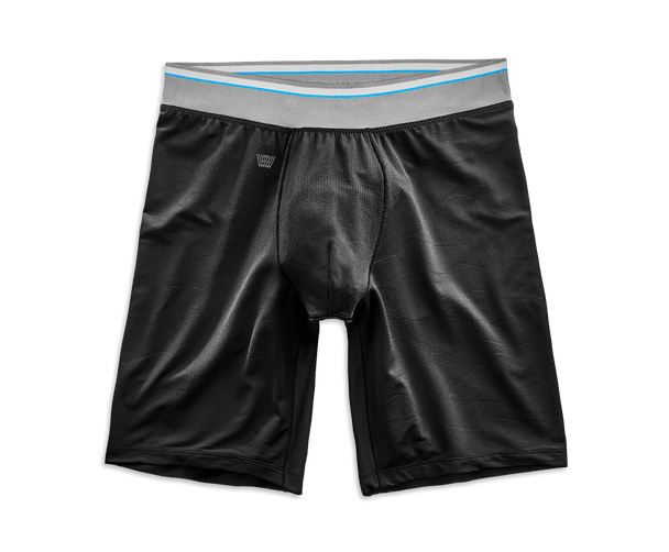 "True Black | Front view of AIRKNITx HD 8"" Boxer Brief in True Black"