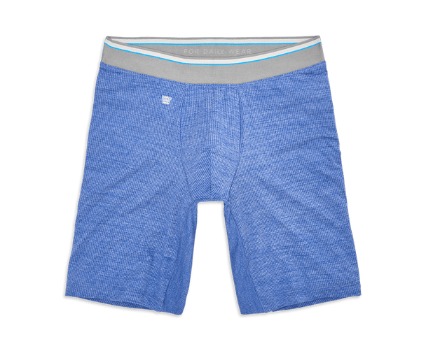 "Skydiver Heather | Front view of Airknitx 8"" Boxer Brief in Sydiver Heather"