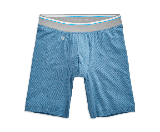 "Riptide Heather | Front view of Airknitx 8"" Boxer Brief in Riptide Heather"