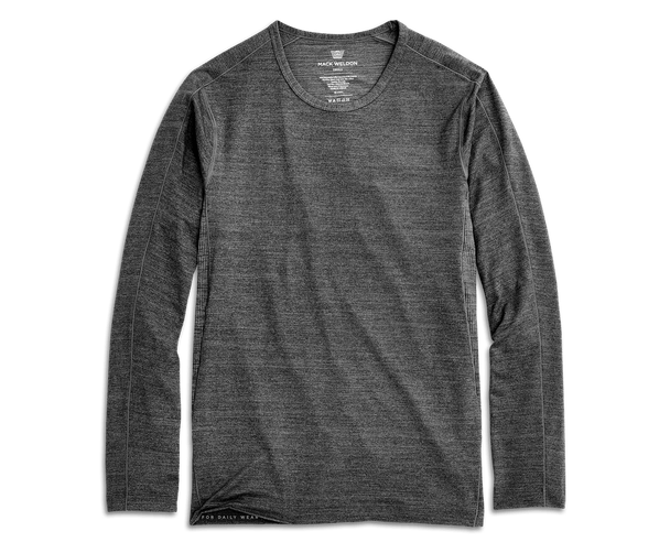 Charcoal Heather | Front view of AIRKNITx Long Sleeve T-Shirt in Charcoal Heather