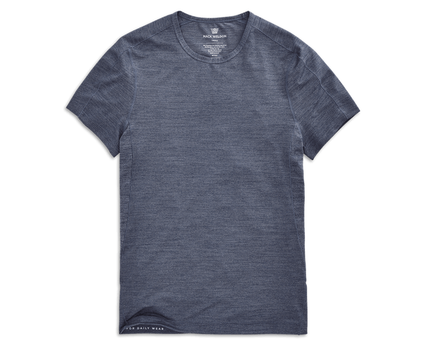 Indigo Heather | Front view of AIRKNITx Crew Neck T-Shirt in Indigo Heather